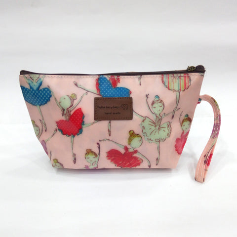 Dancing Girl Print Cosmetic & Travel Bag in Light Brown Color | With Side Handle - BestP : Best Product at Best Price