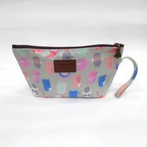 Cartoon Print Cosmetic & Travel Bag in Grey Color | With Side Handle - BestP : Best Product at Best Price