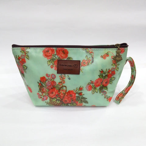 Floral Print Cosmetic & Travel Bag in Green Color | With Side Handle - BestP : Best Product at Best Price