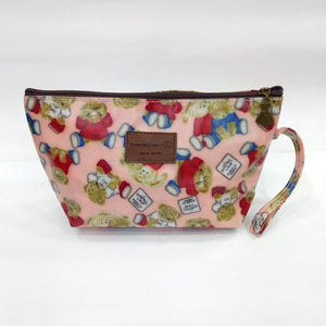 Teddy Bear Print Cosmetic & Travel Bag in Light Pink Color | With Side Handle - Best Price Company India