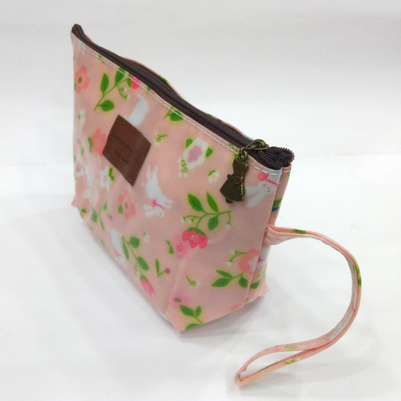 Flower Print Cosmetic & Travel Bag in Light Pink Color | With Side Handle - BestP : Best Product at Best Price