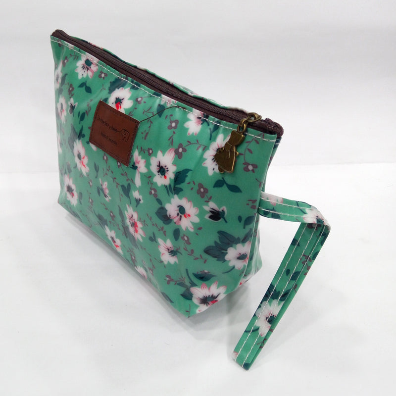 Flower Print Cosmetic & Travel Bag in Green Color | With Side Handle - BestP : Best Product at Best Price