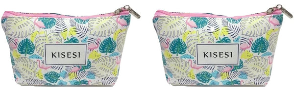 Leave Print Cosmetic/Travel Pouch in Multicolor | Set of 2 - Best Price Company India