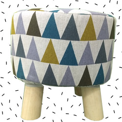 Wooden Multicolor Printed Stool With Removable Soft Fabric Cover | Round - 4 Legs - Best Price Company India