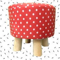 Wooden Red Polka Dot Printed Stool With Removable Soft Fabric Cover | Round - 4 Legs - Best Price Company India