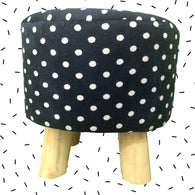 Wooden Black Polka Dot Printed Stool With Removable Soft Fabric Cover | Round - 4 Legs - Best Price Company India