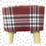 Wooden Red Check Printed Stool With Removable Soft Fabric Cover | Square - 4 Legs - Best Price Company India