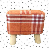 Wooden Orange Check Printed Stool With Removable Soft Fabric Cover | Square - 4 Legs - Best Price Company India