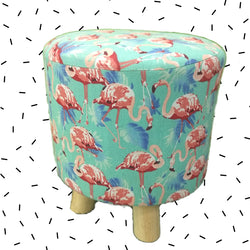 Wooden Flamingo Design Printed Stool With Removable Soft Fabric Cover | Round - 4 Legs (Aqua Blue) - Best Price Company India