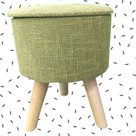 Wooden Grass Green Color Stool With Under Seat Storage | Round - 3 Legs - Best Price Company India