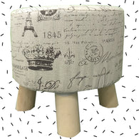 Wooden Light Brown Multiprint Stool With Removable Soft Fabric Cover | Round - 4 Legs - Best Price Company India