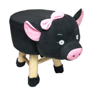 Wooden Animal Stool for Kids (Pig)| With Removable Soft Fabric Cover | (Black) - Best Price Company India