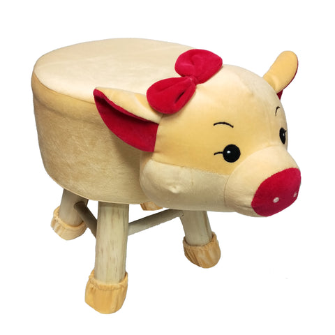 Wooden Animal Stool for Kids (Pig)| With Removable Soft Fabric Cover | (Yellow) - Best Price Company India