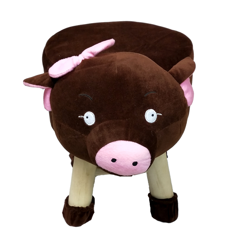 Wooden Animal Stool for Kids (Pig )| with Removable Fabric Cover (Brown) 42 CM