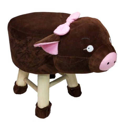 Wooden Animal Stool for Kids (Pig)| With Removable Soft Fabric Cover | (Wine) - Best Price Company India