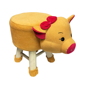 Wooden Animal Stool for Kids (Pig)| With Removable Soft Fabric Cover | (Mustard) - Best Price Company India