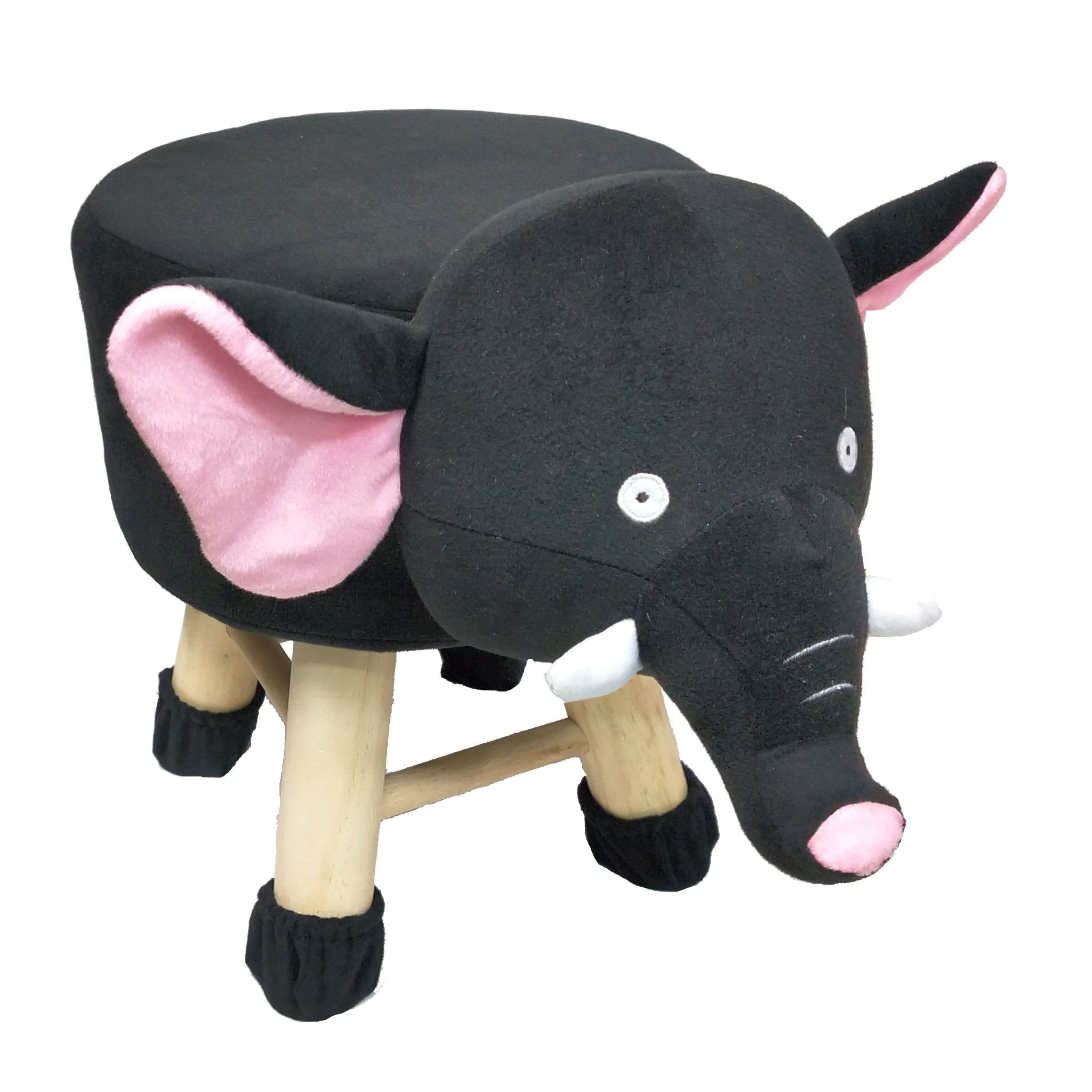 Wooden Animal Stool for Kids (Elephant)| With Removable Soft Fabric Cover | (Black) - BestP : Best Product at Best Price