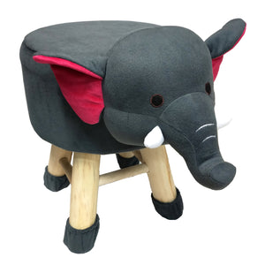Wooden Animal Stool for Kids (Elephant)| With Removable Soft Fabric Cover | (Grey) - BestP : Best Product at Best Price