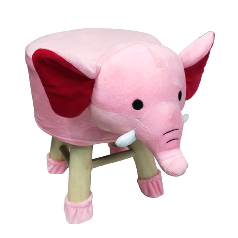 Wooden Animal Stool for Kids (Elephant)| With Removable Soft Fabric Cover | (Pink) - BestP : Best Product at Best Price