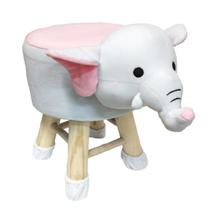 Wooden Animal Stool for Kids (Elephant)| With Removable Soft Fabric Cover | (White & Pink) - BestP : Best Product at Best Price