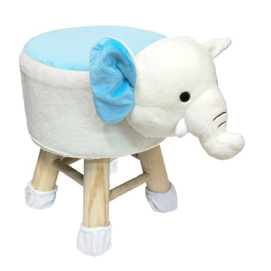 Wooden Animal Stool for Kids (Elephant)| With Removable Soft Fabric Cover | (White & Blue) - BestP : Best Product at Best Price