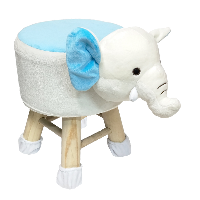 Wooden Animal Stool for Kids (Elephant)| With Removable Soft Fabric Cover | (White & Blue) 42 CM