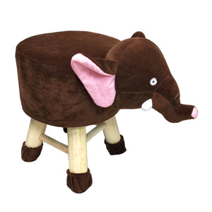 Wooden Animal Stool for Kids (Elephant)| With Removable Soft Fabric Cover | (Wine) - BestP : Best Product at Best Price