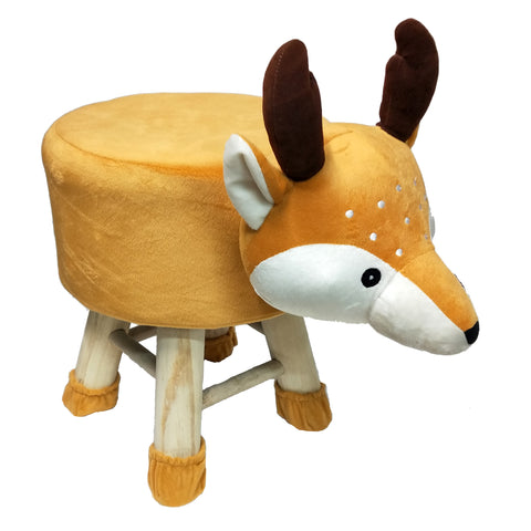 Wooden Animal Stool for Kids (Reindeer)| With Removable Soft Fabric Cover | (Mustard) - Best Price Company India