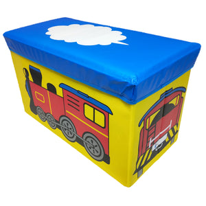 BestP Toy Train Print Storage Box | Folding Storage Box | Under Lid Storage with Padded Seat - Best Price Company India