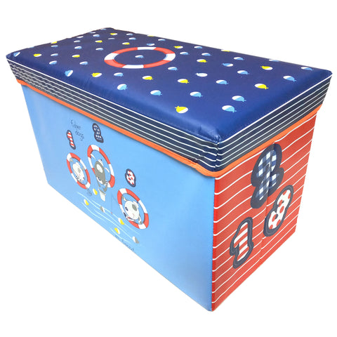 BestP Fisher Dogs Print Storage Box | Folding Storage Box | Under Lid Storage with Padded Seat - Best Price Company India