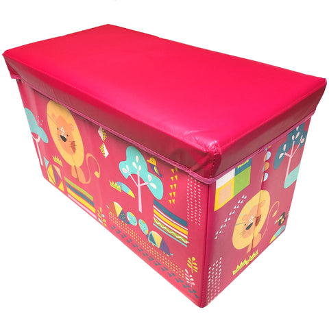 BestP Cute Lion Print Storage Box | Folding Storage Box | Under Lid Storage with Padded Seat - Best Price Company India
