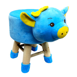 Wooden Animal Stool for Kids (Pig)| With Removable Soft Fabric Cover | (Blue) - BestP : Best Product at Best Price