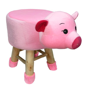 Wooden Animal Stool for Kids (Pig)| With Removable Soft Fabric Cover | (Pink) - BestP : Best Product at Best Price