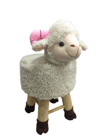 Wooden Animal Stool for Kids (Sheep) | Round High Neck | With Removable Soft Fabric Cover |(WHT) - BestP : Best Product at Best Price