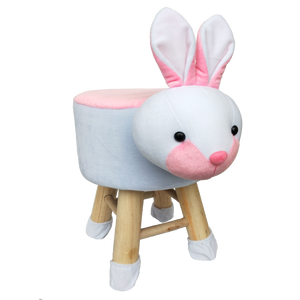 Wooden Animal Stool for Kids (Rabbit)| With Removable Soft Fabric Cover | (Pink & White) - Best Price Company India