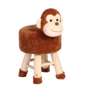 Wooden Animal Stool for Kids (Monkey) | Round High Neck | With Removable Soft Fabric Cover | (Brown) - Best Price Company India