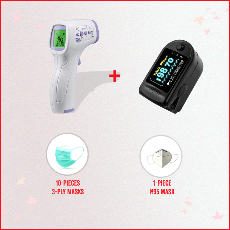 Covid-19 Safety Pack: 1 Non-Contact IR Thermometer + 1 Pulse Oximeter + Free Masks