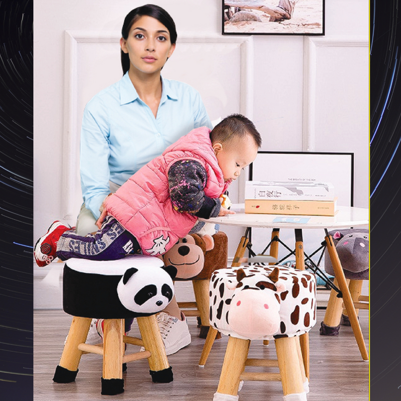Wooden Animal Stool for Kids (Pig )| with Removable Fabric Cover (Black) 42 CM