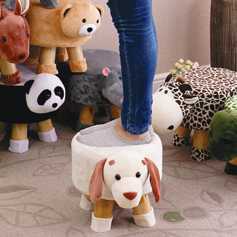 Wooden Animal Stool for Kids (Fox) | with Removable Fabric Cover (Grey) 42 CM