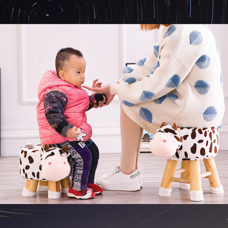 Wooden Animal Stool for Kids (Cow) With Removable Soft Fabric Cover | (White) 20 CM
