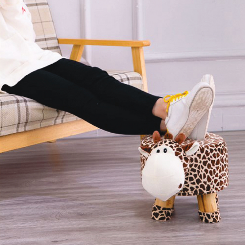 Wooden Animal Stool for Kids (Mouse) With Removable Soft Fabric Cover | (White) 20 CM