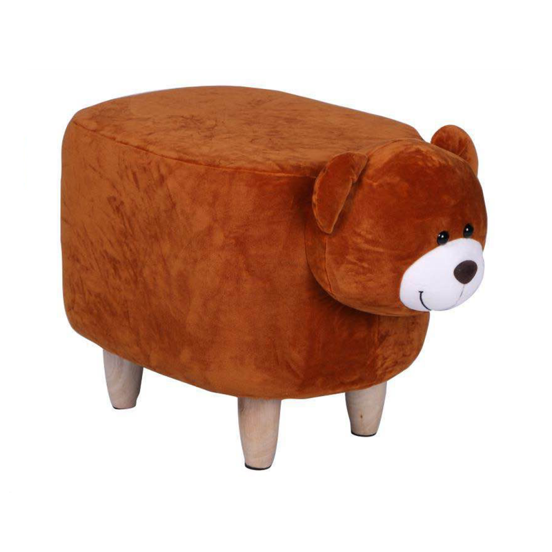Wooden Animal Stool for Kids (Bear)| With Removable Soft Fabric Cover | (Brown) - BestP : Best Product at Best Price
