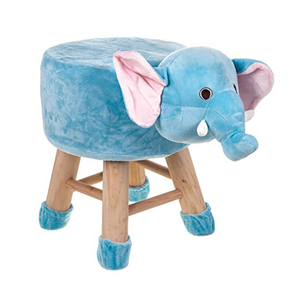 Wooden Animal Stool for Kids (Elephant)| With Removable Soft Fabric Cover | (Blue) - Best Price Company India