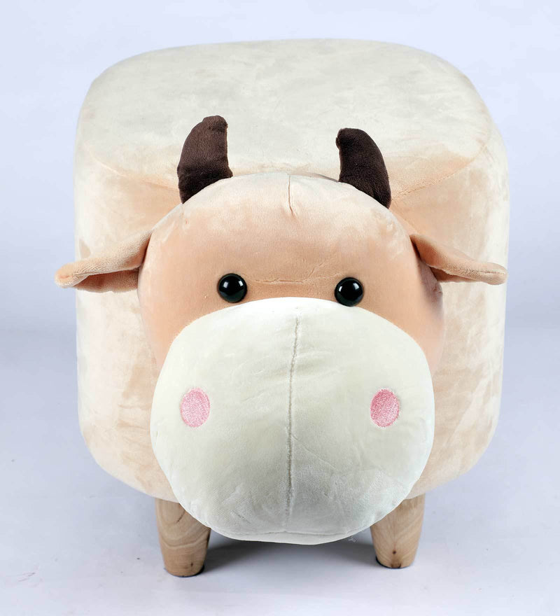 Wooden Animal Stool for Kids (Bull)| With Removable Soft Fabric Cover | (Beige) - BestP : Best Product at Best Price