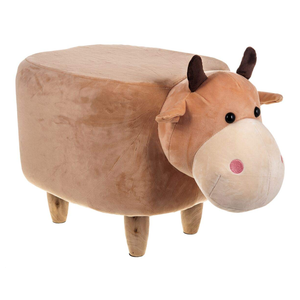 Wooden Animal Stool for Kids (Bull)| With Removable Soft Fabric Cover | (Beige) - Best Price Company India