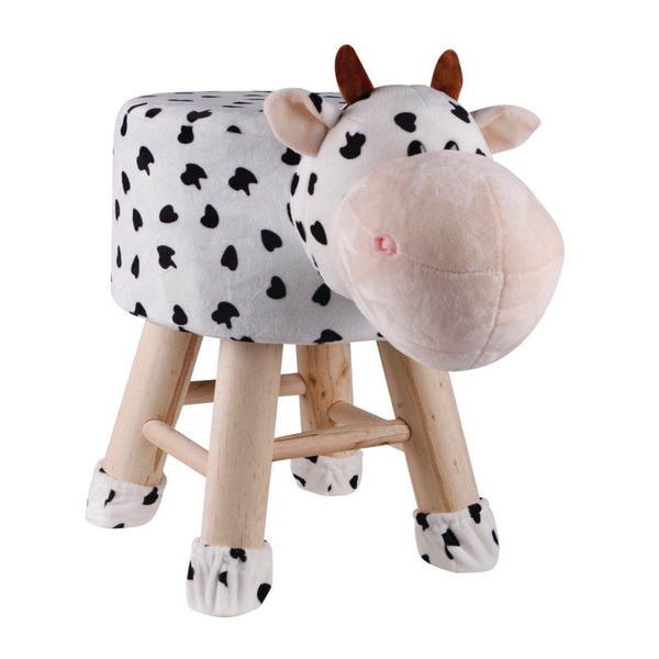 Wooden Animal Stool for Kids (Cow)| With Removable Soft Fabric Cover | (White) - BestP : Best Product at Best Price