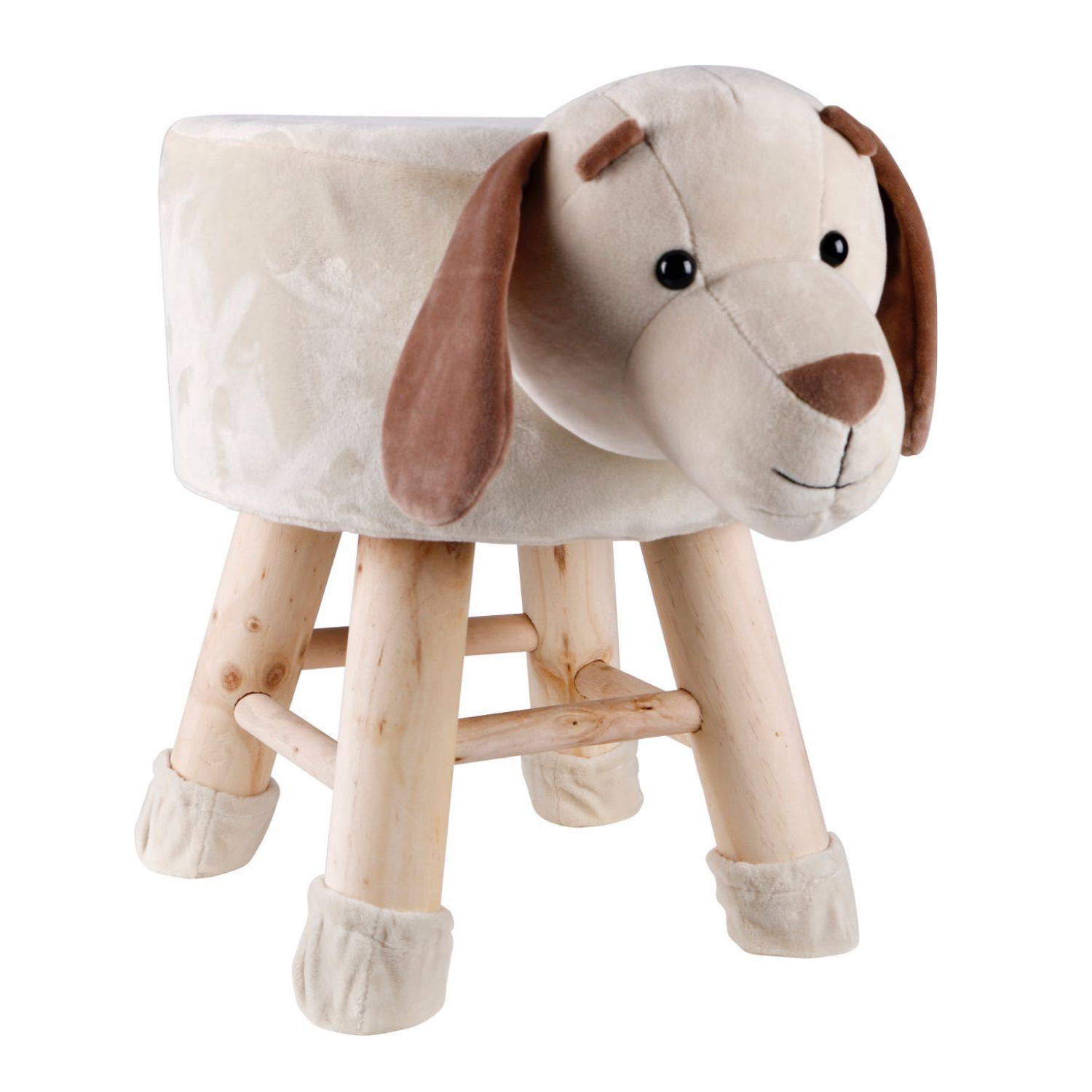 Wooden Animal Stool for Kids (Dog)| With Removable Soft Fabric Cover | (Beige) - Best Price Company India