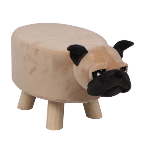 Wooden Animal Stool for Kids (Pug) | Small Oval | With Removable Soft Fabric Cover | (Brown) - Best Price Company India