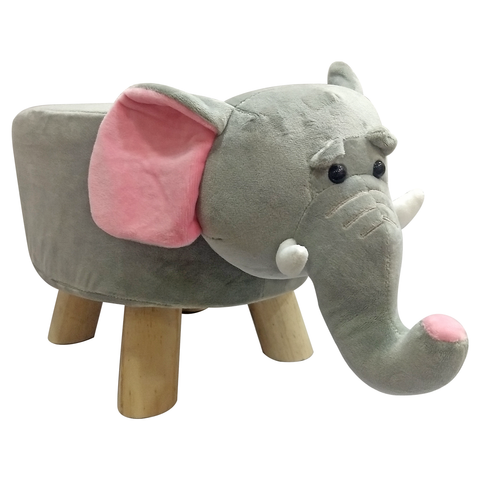 Wooden Animal Stool for Kids (Elephant) | Small Oval | With Removable Soft Fabric Cover | (Grey) - BestP : Best Product at Best Price