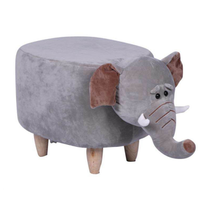 Wooden Animal Stool for Kids (Elephant)| With Removable Soft Fabric Cover | (Grey) - Best Price Company India